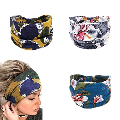 Yean - Fascia per capelli da yoga in stile boho, con stampa floreale e turbante, alla moda, per donne e ragazze (confezione da 3) (A)