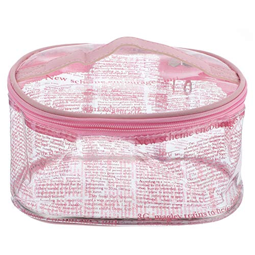 STOBOK Clear Makeup Bag News Paper Pattern Travel Toiletry Bag Portable Toiletry Organizer Waterproof Multifunctional Portable Travel Container for Men Women Travel Outdoor Pink