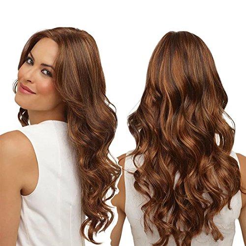 Parrucca sintetica, ondulata lunga e resistente al calore, colore grigio argento