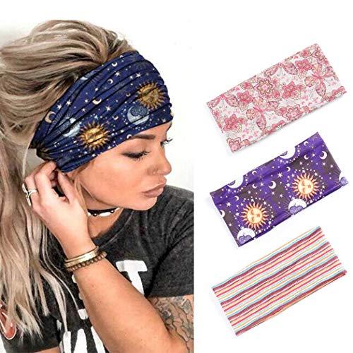 Zoestar - Fascia per capelli stile boho, stile vintage, con turbante, per yoga, stile vintage, per donne e ragazze, confezione da 3