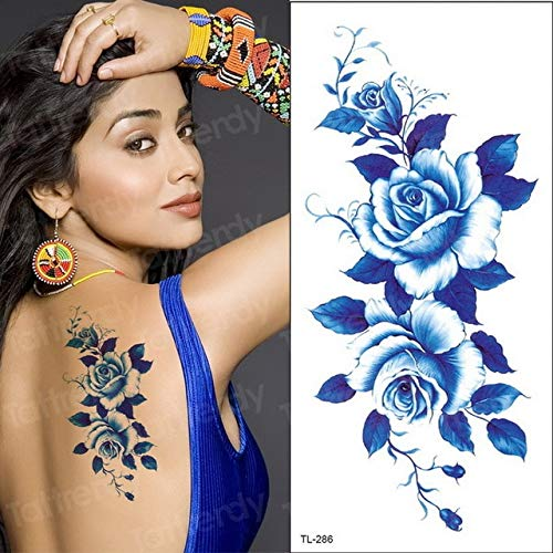 HXMAN 5pcs Unico Fiore Tatuaggi Rosa Blu Fiore Viola Tatuati Donne Sexy Tatuaggi Tatuaggi Amore Estate Stile Moda Arte Decalde TL286