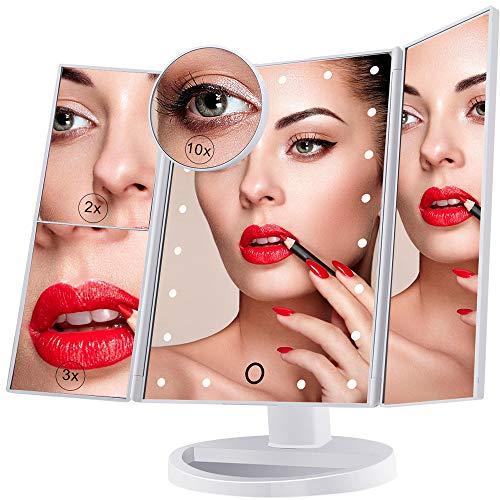 Specchio Per il Trucco Illuminato, Specchio Cosmetico per Vanità a 21 Luci a LED, Touch Screen Con Ingrandimento Triplo Ingrandimento 2X 3X 10X, Rotazione Libera di 180 °, Doppio Alimentatore Bianco