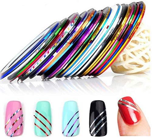 Nail Art Nastro 90 Pezzi glitterati Unghie Striscia Nastro Adesivo 30 Colori Linea di Nastri per Unghie,per nail design
