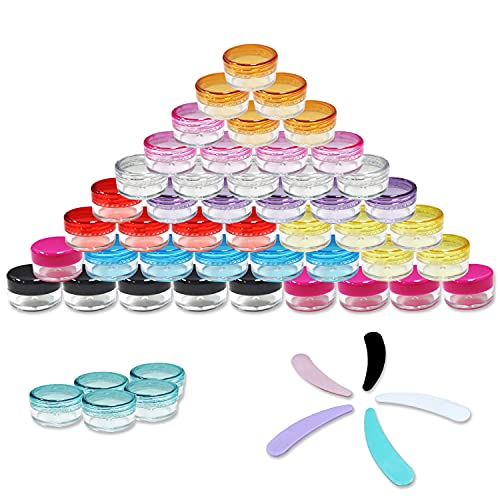 50 Contenitori Cosmetici Plastica Piccoli 5g/5ml Trasparente Bottiglie Plastica,Viaggio per Cosmetici Campione Crema Creme Candele Vernici Barattoli,10 Colori Tappo a Vite e 5 Spatola