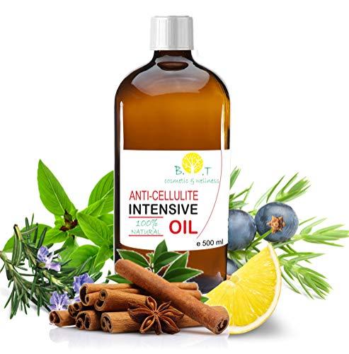 Olio Intensivo Anti cellulite Dimagrante 100% Naturale con Oli essenziali di limone, rosmarino, cannella, basilico e ginepro 500 ml - Penetra 6 volte più in profondità