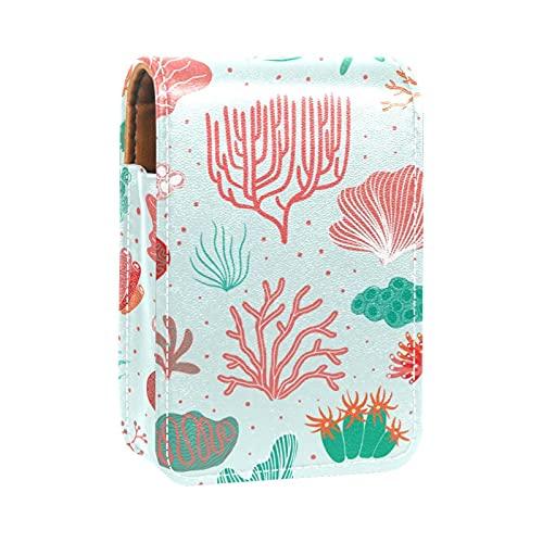 Acquerello Corallo Alga verde rosa blu Piante Stampe Porta rossetto Mini porta rossetto Borsa organizer con specchio per borsetta Custodia cosmetica da viaggio