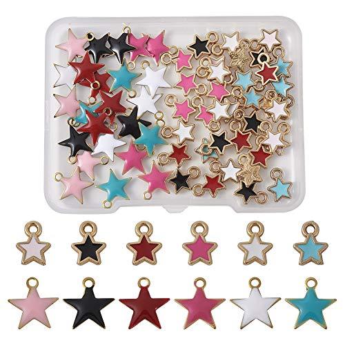 PandaHall, 60 ciondoli in lega e smalto a forma di stella, placcati oro chiaro, in metallo, per fai da te, collane, bracciali, orecchini, artigianato