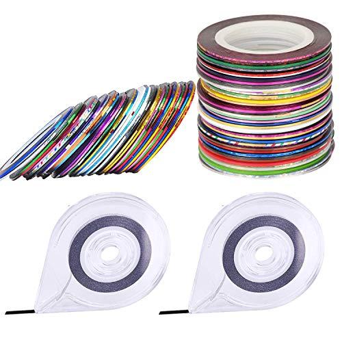 Sunnysam 60 Colori Nail Striping Tape Line 2 Pezzi Dispenser per Nastro per Unghie Gratis Dispenser per rulli a Nastro Striping Tape Line Adesivi per Decorazioni per Nail Art Adesivi per dec