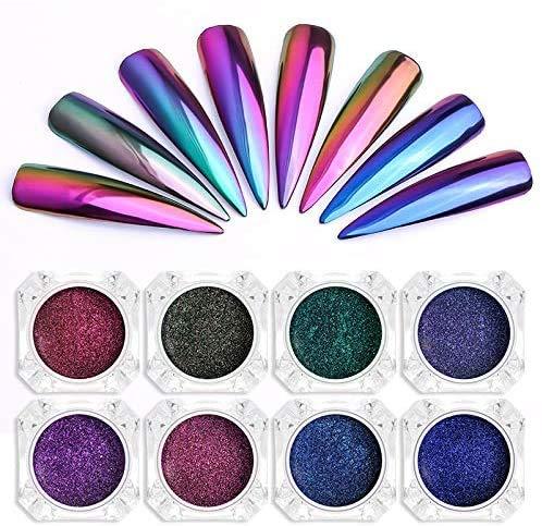 Biutee 8 Colori Nail Chameleon Powder Polvere Unghie Effetto Specchio Pigmento Glitter Metallizati Kit di Decorazione Nail Powder