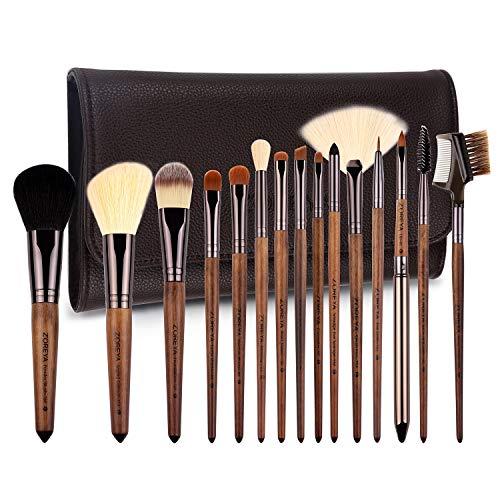 zoreya | 15 new pennelli lusso spazzole di trucco cosmetico kit professionale | setole sintetiche qualità superiore | cosmetic makeup brush set 15pcs | borsa portaoggetti pelle design | idea regalo