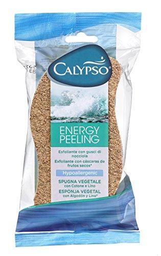 Calypso Energy Peeling, Spugna Vegetale con Cotone e Lino, Esfoliante con Gusci di Nocciola, 1 Confezione da 1 pezzo
