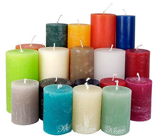 Kloster Design - Candele danesi a pilastro, peso totale 4,5 kg, colorate, prima scelta; serie di candele danesi.