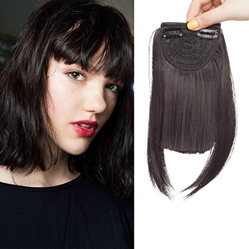 SEGO Frangia Capelli Clip Frangetta Finta Frontale Extension Bangs Hair Fascia Unica Corta Capelli Lisci Posticci Donna 30g - #Nero Naturale