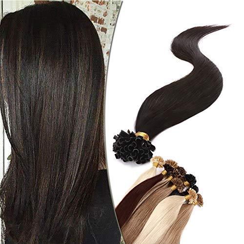 SEGO Extension Cheratina Capelli Veri 1 Grammo 50 Ciocche 40cm U Tip Nail Pre-Bonded Remy Human Hair Neri Lisci 50g Extensions Invisibili #1B Nero Naturale