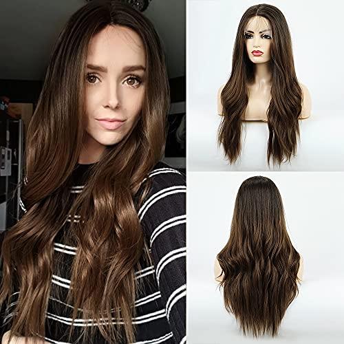 BLONDE UNICORN Parrucca per capelli castani ombre per donna Parrucca anteriore in pizzo sintetico con capelli da bambino