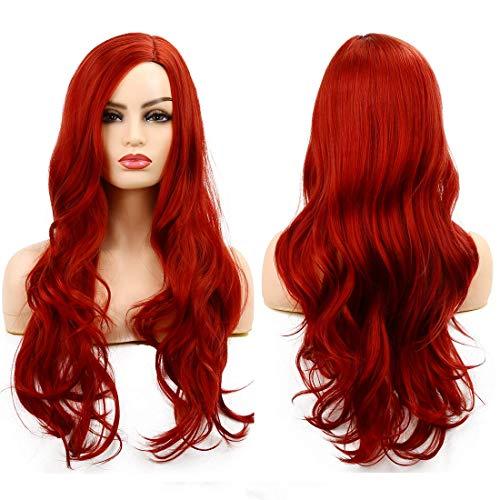 Parrucca Donna Rosso Parrucche Cosplay Lunghe Parrucca Ondulata Resistente Calore Uso Quotidiano(Rosso)