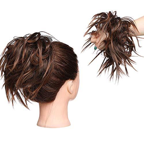 Estensioni dei capelli arruffati Moda Hairpiece Scrunchie Dritto elastico updo Scrunchy Bun Brown Blonde Parrucca coda di cavallo Hairdo Castano Chiaro a Marrone