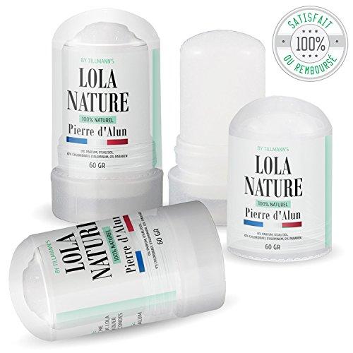 Pietra di Alun Lola Nature – 3 stick deodorante da 60 g, 100% naturale, senza parabeni né cloridrato di alluminio/efficace contro i tagli della rasatura.