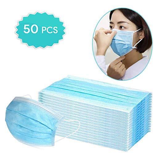 Dispositivi per protezione quotidiana dalla polvere, cuscinetti usa e getta sottili con elastici per le orecchie, cuscinetti di sicurezza usa e getta per mezzo viso (50 pezzi)