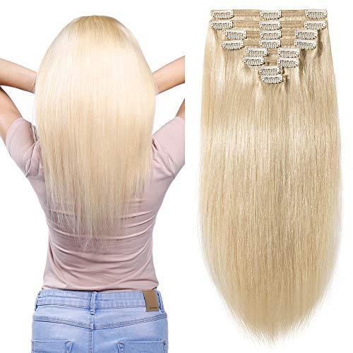 Elailite Extension Capelli Veri Clip Volumizzante - 35cm 120g - 8 Fasce Folte Double Weft Full Head 100% Remy Human Hair Lisci, 60 Biondo Platino