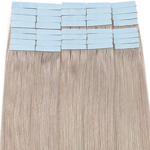 Rich Choices 50cm Extension Capelli Veri Biadesivo 40 Fasce 100% Remy Human Hair Tape in Extension Adesive Capelli Naturali 2.5g/Fasca, Grigio
