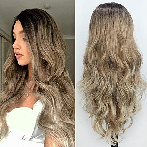 PORSMEER Parrucche castana bionde ricce lunghe Parrucche sintetiche a spalla per donne Radice scura Parrucche bionde chiare per donne bianche Ragazze
