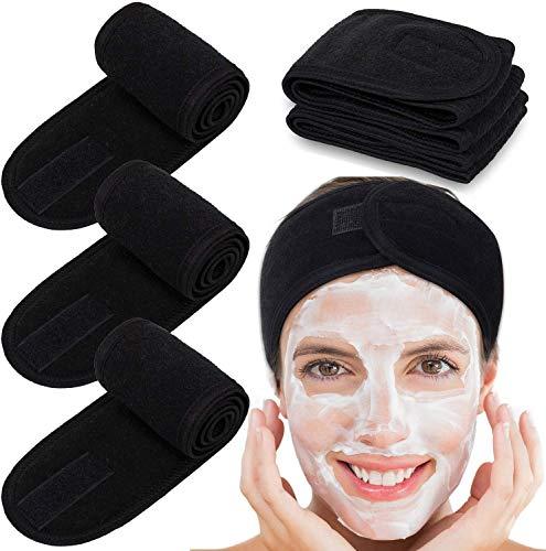 Eagool - Fascia per capelli, fascia per capelli, in spugna elasticizzata, per sport, yoga, doccia, colore: nero