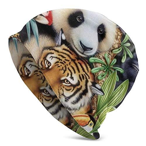 Viplili Beanie Invernale Cappelli, Tropical Zoo Panda Tiger Parrot Lion Slouchy Beanie cap for Men Women - Casual Hip-Hop Skull cap Baggy Knit Hat Hip-Hop Winter Hat