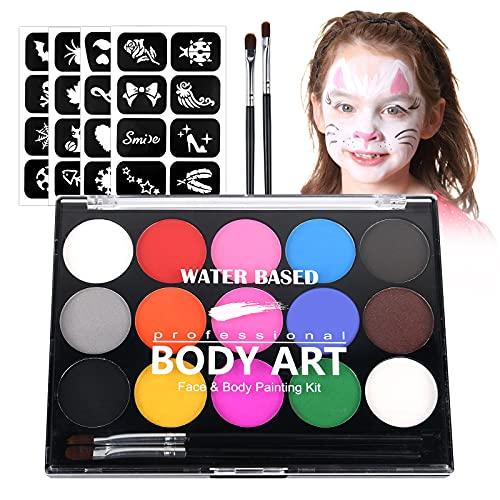 URAQT Body Painting, 15 Colori Face Painting, Pittura Corpo con 32 Stampini e 2 Pennelli, Coloranti Naturale e Sicuro, Feste, Trucco Make-up, Halloween