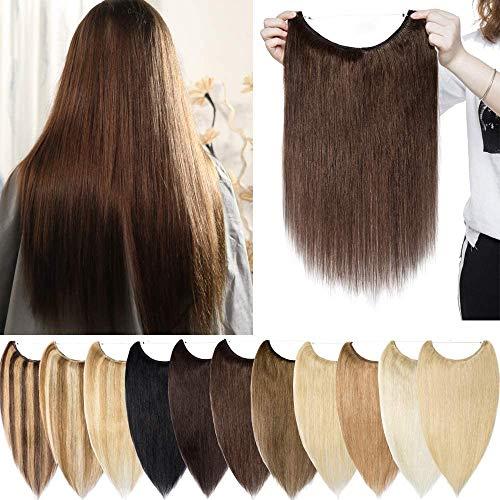 Extension Capelli Veri Fascia Unica Filo Invisibile Remy Human Hair Hidden Crown Hair Wire in Lisci Lunghi Naturali Donna Bellezza (40cm 60g #4 Marrone Cioccolato)