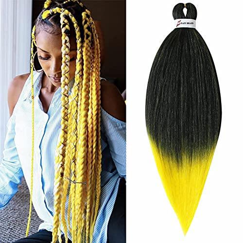 Treccine Capelli Extension Pre Stretched Braiding Hair Pre Allungato Stirato Yaki Professionale Africane Capelli Sintetici Lunghi Sintetici Afro Ombre Crochet 1 Ciocche 65cm Nero&Giallo