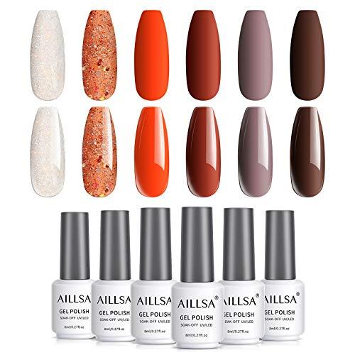 AILLSA 6 pezzi di smalto semipermanente completo di smalto per unghie in gel bianco glitter arancione, set di smalti per gel UV marrone