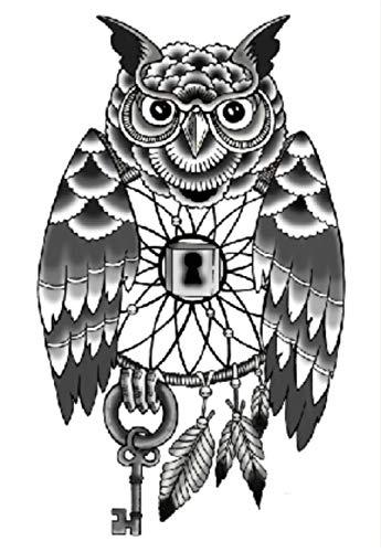 Gufo Chiave Antica Tatuaggi Temporanei Impermeabili Adesivi Per Body Art Falsi Trasferimento Per Spalle Torace Gambe Posteriori Festival Moda Arte 21X15Cm 5 Pcs