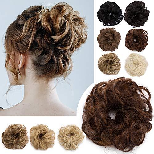 SEGO Extension Capelli Finti Chignon Elastico Hair Bun Scrunchie Coda Capelli Ricci Messy Curly Updo 30g Castano Ramato Chiaro mix Castano Scuro