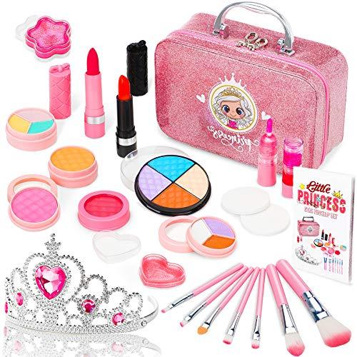 Jojoin Trucchi Bambina Set, 22 Pezzi Lavabile Makeup Set di Cosmetici con Corona Rosa Principessa, Ragazze Festa per Il Trucco Compleanno Natale