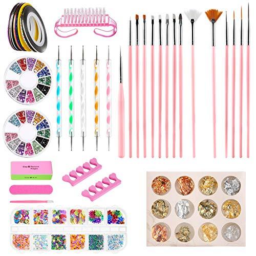 Nail Art Design Kit di Decorazione Set, GuKKK 51 Pezzi Nail Art Set, 15 Pcs Nail Art Pennelli, 5 Pcs Dotting Pen, 10 Rotoli Nastro della Striatura, 3 Scatole Unghie Strass, Strumenti del Chiodo