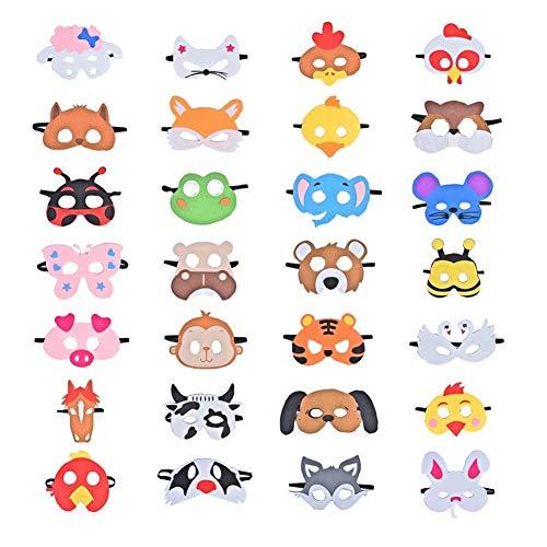 Queta - Set di 28 maschere in feltro per bambini, con motivi di animali, dotate di corda elastica, perfette per cosplay e party