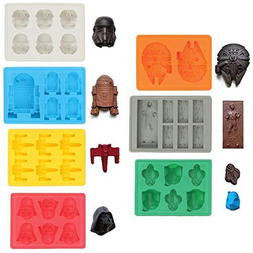 Sunerly, stampi per ghiaccio in silicone di Star Wars, ideali per cioccolato, vassoi per cubetti di ghiaccio, gelatina, dolci, dessert, per realizzare candele e sapone (set da 7 pezzi)