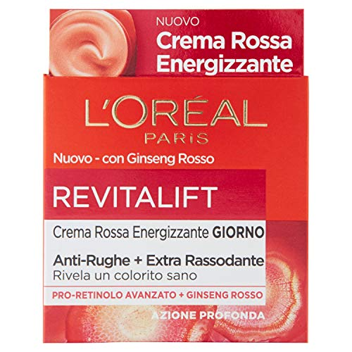 L'Oréal Paris Trattamenti Crema Viso Giorno Energizzante Anti-Rughe Revitalift, Formula Extra Rassodante Arricchita con Ginseng Rosso e Proretinolo Avanzato, 50 ml