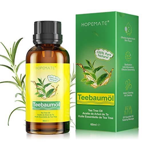 Tea Tree Oil 60ML, Olio Essenziale di Albero del Tè Puro Naturale 100%, per Alleviare i Brufoli, Acne, Corpo Trattamento, Olio Essenziale Multiuso per Aromaterapia Diffusore, Massaggio