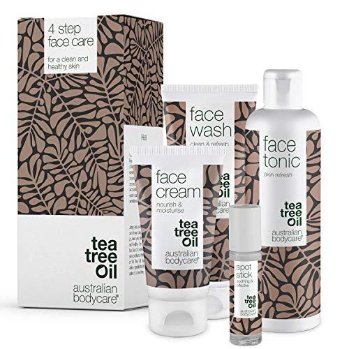 4 prodotti per il viso di Australian Bodycare – Contro macchie, brufoli, pelle grassa e acne. Con Tea Tree Oil australiano di qualità farmaceutica - Detergente, tonico, crema e spot stick
