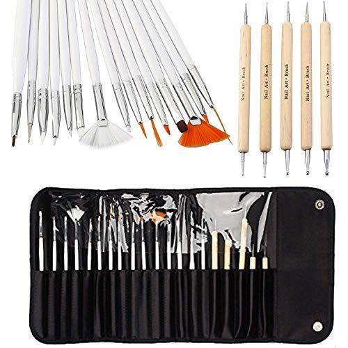 One1x, set per nail art, set per decorazione unghie con 15 pennelli e 5 penne dotter, set da 20 pezzi