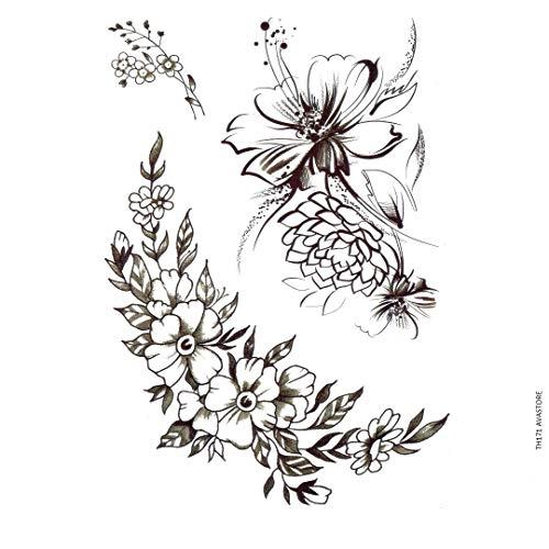 Avasore - Tatuaggio temporaneo da donna con fiori di loto, peonia, mandorla, papavero