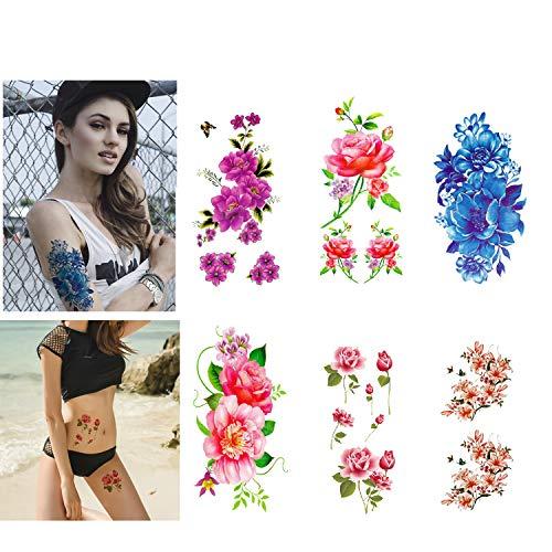 LINGREAL fogli adesivi per tatuaggi temporanei di grandi dimensioni (fiori di loto, giglio, pesca, prugna, peonia, ciliegia) per bambini, ragazze, donne, adulti (Tatuaggi temporanei - A)