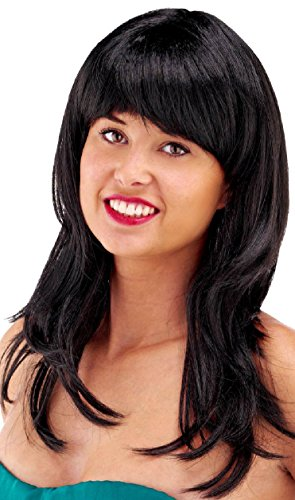 Parrucca capelli lunghi con frangetta nera