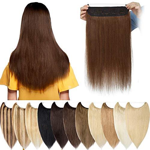 Extension Capelli Veri Fascia Unica Filo Invisibile Voluminoso Remy Human Hair Hidden Crown Hair Wire in Lisci Lunghi Naturali Donna Bellezza (55cm 120g #4 Marrone Cioccolato)