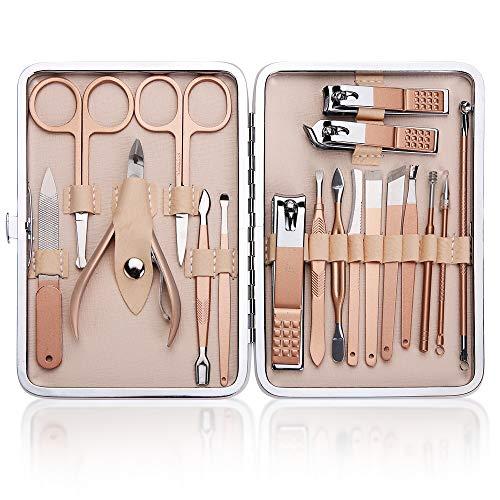 Aokyom 18 in 1 Tagliaunghie Set Donna Manicure Toelettatura Kit Manicure Set Kit Cura Unghie Tagliaunghie Inossidabile set manicure professionale per Uso Professionale e Quotidiano Unghie di Viaggio