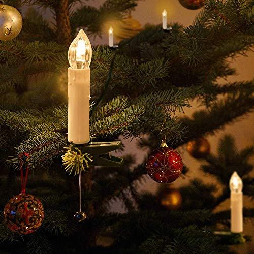 Catena Candele Albero Natale, THOWALL Set di 15.5M 50 LED Candele Natalizie con Clip, Cantena Luminosa Interno e Esterno Decorazione per Albero di Natale, Matrimonio, Compleanno, Festa, Bianco Caldo
