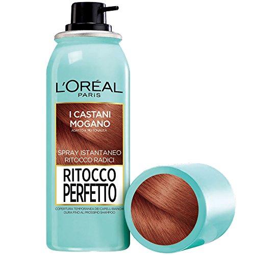 L'Oréal Paris Spray Radici Ritocco Perfetto, Colorazione Ricrescita, Copre i Capelli Bianchi e Dura 1 Shampoo, Castano Mogano, 75 ml, Confezione da 1
