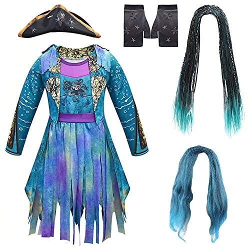 VersusModa Simile Descendants Vestito Carnevale Travestimento Uma Bambina Child Costume Dress DESC07 (Solo la Parrucca Economica Capelli Ondulati, Taglia Unica)